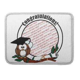 Cute Cartoon Graduation Owl With Cap & Diploma MacBook Pro Sleeve