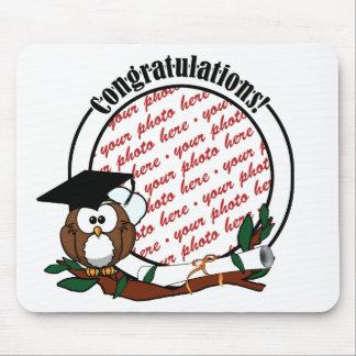 Cute Cartoon Graduation Owl With Cap & Diploma Mouse Pad