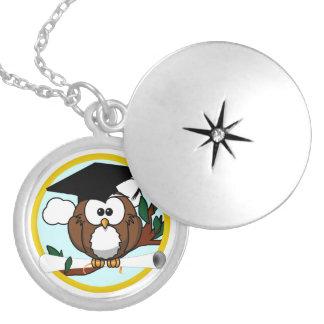 Cute Cartoon Graduation Owl With Cap & Diploma Pendants