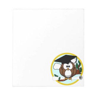 Cute Cartoon Graduation Owl With Cap & Diploma Note Pad