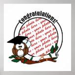 Cute Cartoon Graduation Owl With Cap & Diploma Poster