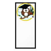 Cute Cartoon Graduation Owl With Cap & Diploma Rack Card