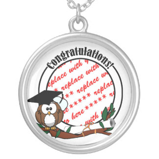 Cute Cartoon Graduation Owl With Cap & Diploma Silver Plated Necklace