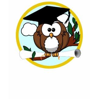 Cute Cartoon Graduation Owl With Cap & Diploma shirt