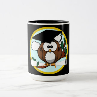 Cute Cartoon Graduation Owl With Cap & Diploma Two-Tone Coffee Mug