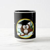 Cute Cartoon Graduation Owl With Cap & Diploma Two-Tone Coffee Mug