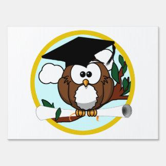 Cute Cartoon Graduation Owl With Cap & Diploma Yard Sign