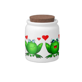 Cute Cartoon Green Frogs Red Love Hearts Candy Dish