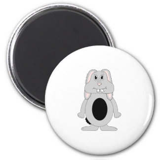 Cute cartoon grey and black bunny gifts and tees. 2 inch round magnet