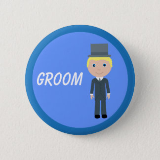 Cute Cartoon Groom Pinback Button