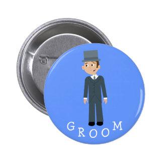 Cute Cartoon Groom Pinback Button