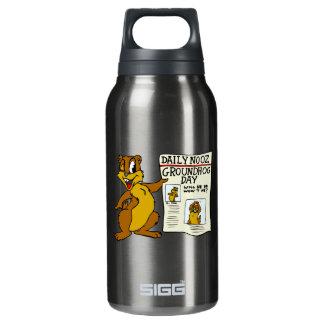 Cute Cartoon Groundhog w/ Groundhog Day Newpaper 10 Oz Insulated SIGG Thermos Water Bottle