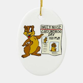 Cute Cartoon Groundhog w/ Groundhog Day Newpaper Ceramic Ornament