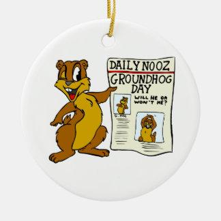 Cute Cartoon Groundhog w/ Groundhog Day Newpaper Double-Sided Ceramic Round Christmas Ornament