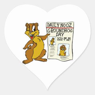 Cute Cartoon Groundhog w/ Groundhog Day Newpaper Heart Sticker
