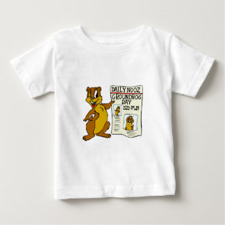 Cute Cartoon Groundhog w/ Groundhog Day Newpaper Infant T-shirt