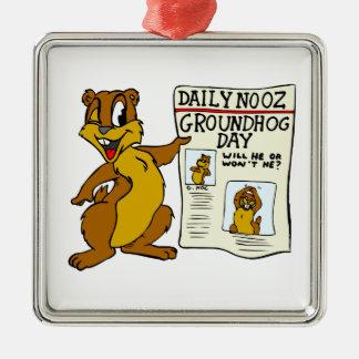 Cute Cartoon Groundhog w/ Groundhog Day Newpaper Metal Ornament
