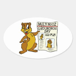 Cute Cartoon Groundhog w/ Groundhog Day Newpaper Oval Sticker