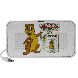 Cute Cartoon Groundhog w/ Groundhog Day Newpaper Laptop Speaker