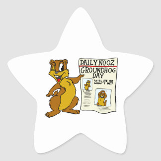 Cute Cartoon Groundhog w/ Groundhog Day Newpaper Star Sticker