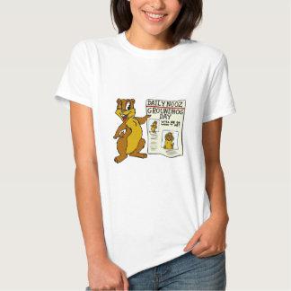 Cute Cartoon Groundhog w/ Groundhog Day Newpaper Tee Shirt