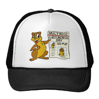 Cute Cartoon Groundhog w/ Groundhog Day Newpaper Trucker Hat
