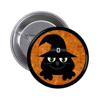 Cute Cartoon Halloween Cat With Witches Hat Pinback Buttons
