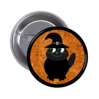 Cute Cartoon Halloween Cat with Witches Hat Button