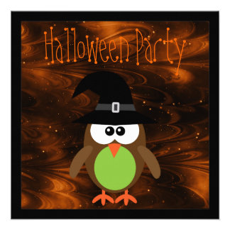 Cute Cartoon Halloween Owl Magical Night Invitation