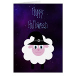 Cute Cartoon Halloween Sheep Blue Starry Night Greeting Cards