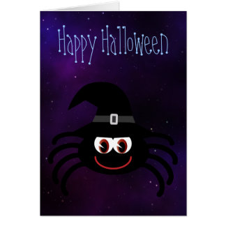 Cute Cartoon Halloween Spider Blue Starry Night Cards