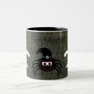 Cute Cartoon Halloween Spider & Ghosts Grunge Two-Tone Coffee Mug