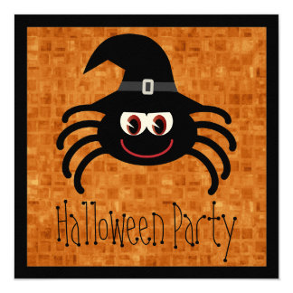 Cute Cartoon Halloween Spider Personalized Announcement