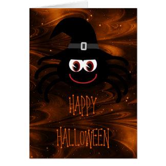 Cute Cartoon Halloween Spider Magical Night Card