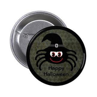 Cute Cartoon Halloween Spider With Witches Hat Buttons