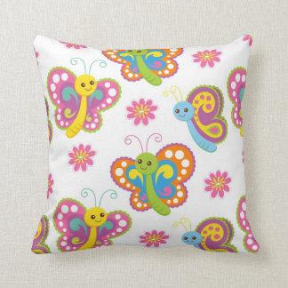 cute cartoon happy butterfly pattern throw pillow