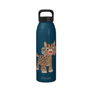 Cute Cartoon Happy Lynx Water Bottle