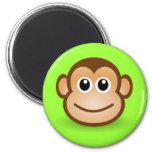 Cute Cartoon Happy Monkey Face 2 Inch Round Magnet