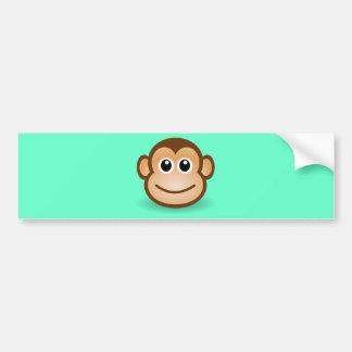 Cute Cartoon Happy Monkey Face Bumper Sticker