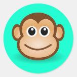 Cute Cartoon Happy Monkey Face Classic Round Sticker