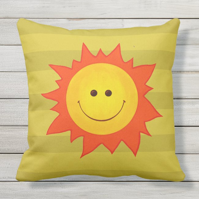 Cute Cartoon Happy Smiling Sun Outdoor Pillow