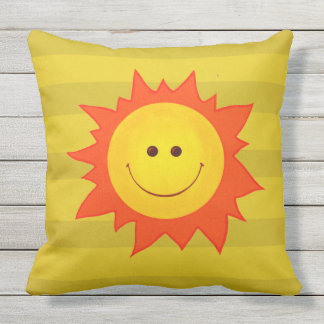Cute Cartoon Happy Smiling Sun Throw Pillow