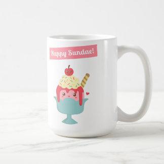 Cute Cartoon - Happy Sundae! And Yummy toppings Classic White Coffee Mug