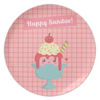 Cute Cartoon - Happy Sundae! And Yummy toppings Melamine Plate