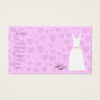 Cute Cartoon Hearts, Dress & Shoes Wedding Planner Business Card