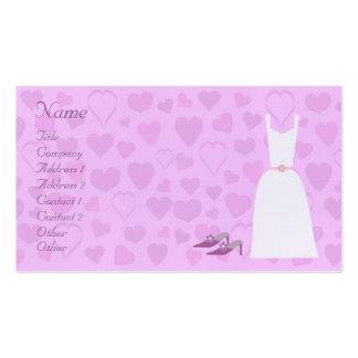 Cute Cartoon Hearts, Dress & Shoes Wedding Planner Business Card Templates