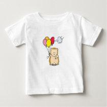 Cute Cartoon Hedgehog holding colorful balloons Baby T-Shirt