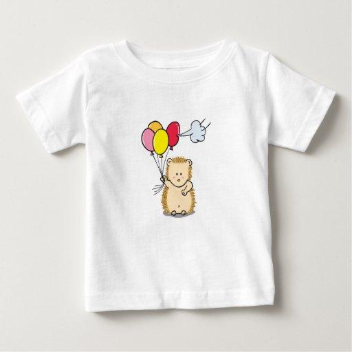 Cute Cartoon Hedgehog holding colorful balloons T-shirts