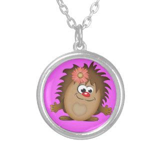 Cute Cartoon Hedgehog Round Pendant Necklace