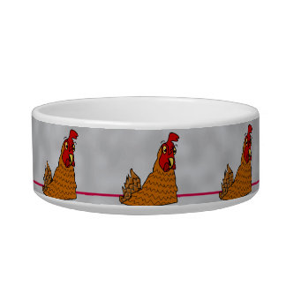 Cute Cartoon Hens Chickens Gray Custom Pet Bowl